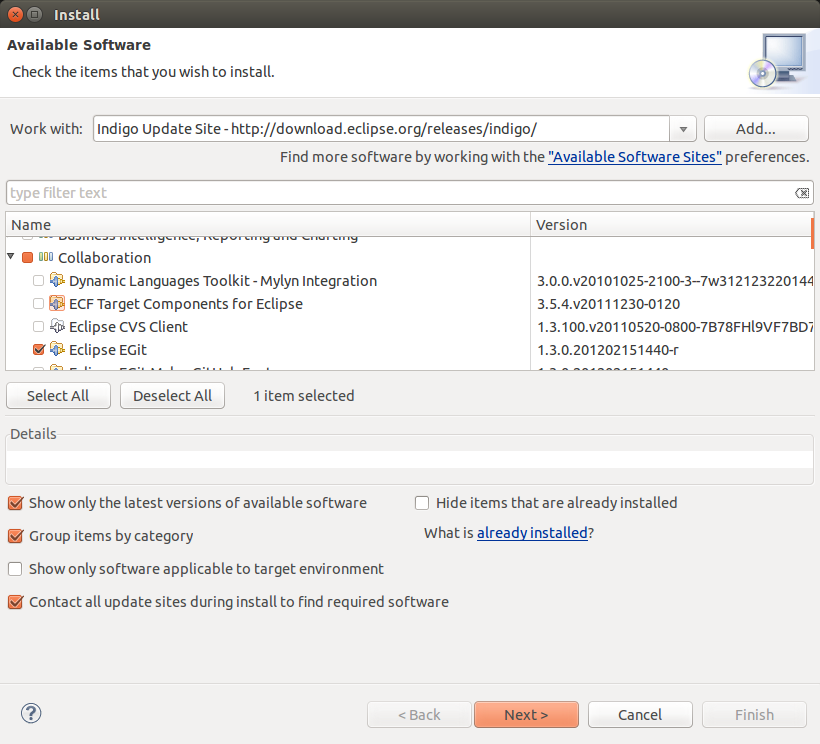 Eclipse software dialog - Select EGit